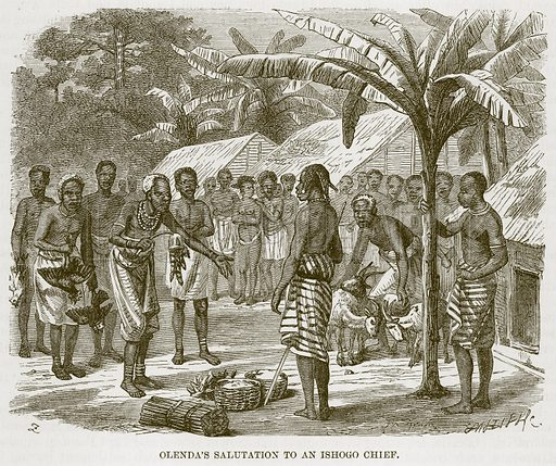 Olenda's Salutation to an Ishogo Chief. Illustration for The Natural History of Man by JG Wood (George Routledge, 1868).