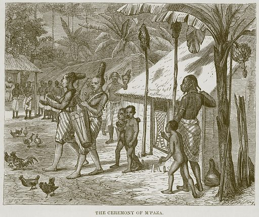 The Ceremony of M'Paza. Illustration for The Natural History of Man by JG Wood (George Routledge, 1868).