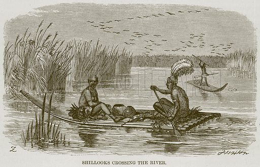 Shillooks Crossing the River. Illustration for The Natural History of Man by JG Wood (George Routledge, 1868).