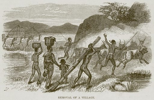 Removal of a Village. Illustration for The Natural History of Man by JG Wood (George Routledge, 1868).