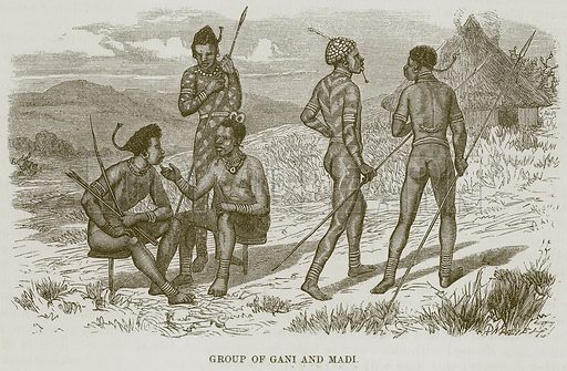 Group of Gani and Madi. Illustration for The Natural History of Man by JG Wood (George Routledge, 1868).
