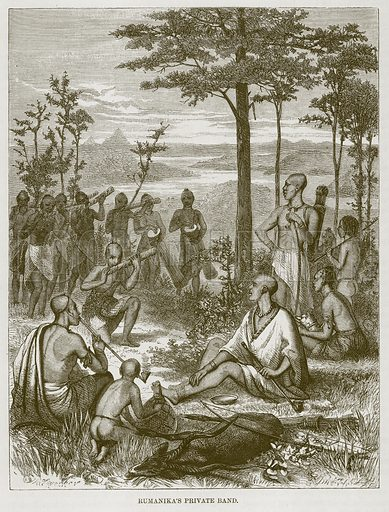 Rumanika's Private Band. Illustration for The Natural History of Man by JG Wood (George Routledge, 1868).