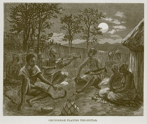 Chunderah Playing the Guitar. Illustration for The Natural History of Man by JG Wood (George Routledge, 1868).