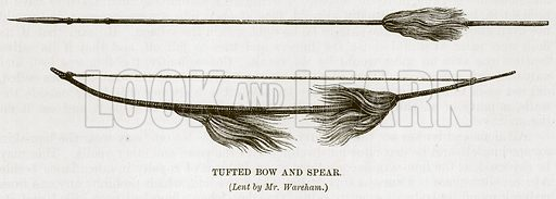 Tufted Bow and Spear. Illustration for The Natural History of Man by JG Wood (George Routledge, 1868).