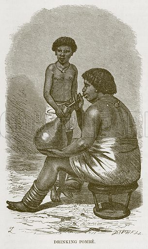 Drinking Pombe. Illustration for The Natural History of Man by JG Wood (George Routledge, 1868).