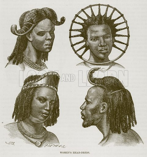Women's Head-Dress. Illustration for The Natural History of Man by JG Wood (George Routledge, 1868).