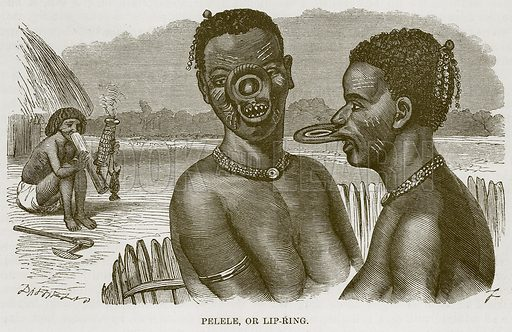 Pelele, or Lip-Ring. Illustration for The Natural History of Man by JG Wood (George Routledge, 1868).