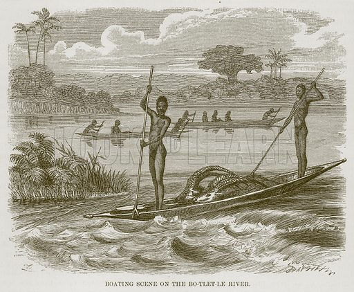 Boating Scene on the Bo-Tlet-Le River. Illustration for The Natural History of Man by JG Wood (George Routledge, 1868).