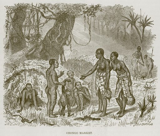 Obongo Market. Illustration for The Natural History of Man by JG Wood (George Routledge, 1868).
