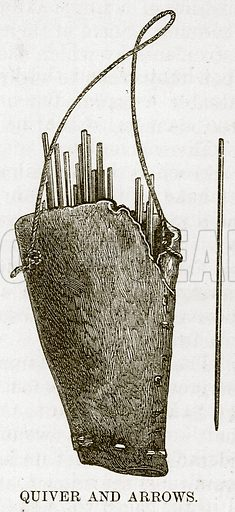 Quiver and Arrows. Illustration for The Natural History of Man by JG Wood (George Routledge, 1868).