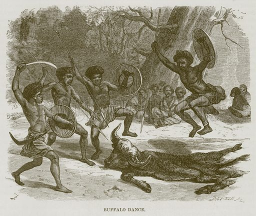 Buffalo Dance. Illustration for The Natural History of Man by JG Wood (George Routledge, 1868).