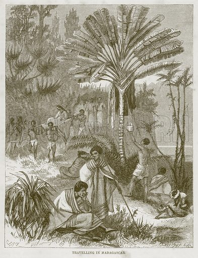 Travelling in Madagascar. Illustration for The Natural History of Man by JG Wood (George Routledge, 1868).