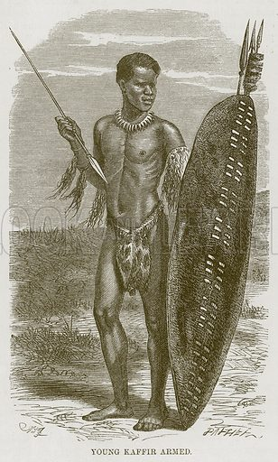 Young Kaffir Armed. Illustration for The Natural History of Man by JG Wood (George Routledge, 1868).