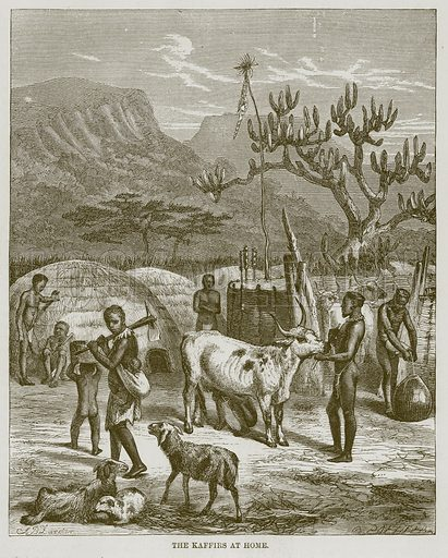 The Kaffirs at Home. Illustration for The Natural History of Man by JG Wood (George Routledge, 1868).