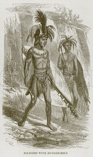 Soldiers with Hunger-Belt. Illustration for The Natural History of Man by JG Wood (George Routledge, 1868).