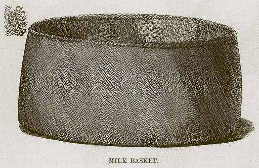Milk Basket. Illustration for The Natural History of Man by JG Wood (George Routledge, 1868).