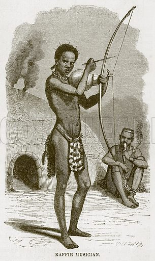 Kaffir Musician. Illustration for The Natural History of Man by JG Wood (George Routledge, 1868).