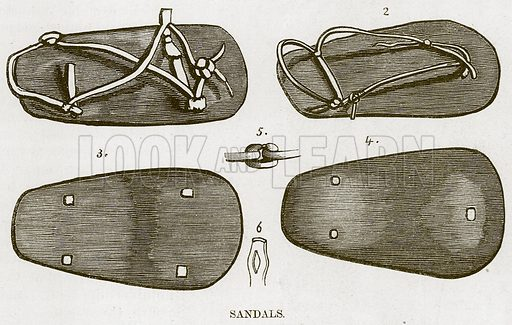 Sandals. Illustration for The Natural History of Man by JG Wood (George Routledge, 1868).