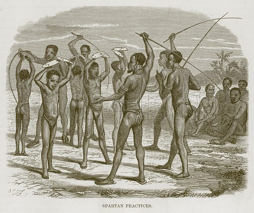 Spartan Practices. Illustration for The Natural History of Man by JG Wood (George Routledge, 1868).