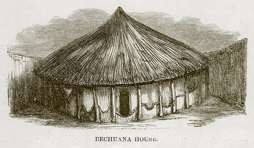 Bechuana House. Illustration for The Natural History of Man by JG Wood (George Routledge, 1868).