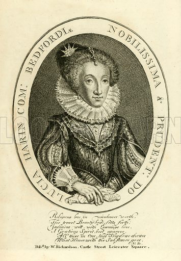 Lucy Harrington, Countess of Bedford. Illustration from A Biographical History of England by J Granger (William Baynes, 1824).