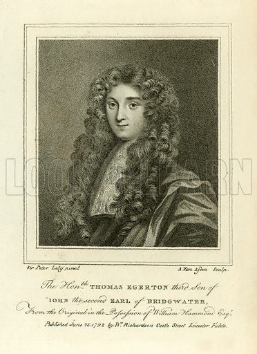 Thomas Egerton. Illustration from A Biographical History of England by J Granger (William Baynes, 1824).
