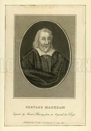 Gervase Markham. Illustration from A Biographical History of England by J Granger (William Baynes, 1824).