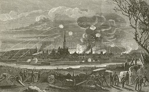 Bombardment of Strasburg. Illustration from The History of France by Thomas Wright (London Printing and Publishing, c 1870).