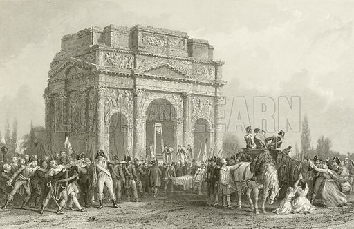 Arch of Marius, at Orange, on the Rhone. Illustration from The History of France by Thomas Wright (London Printing and Publishing, c 1870).