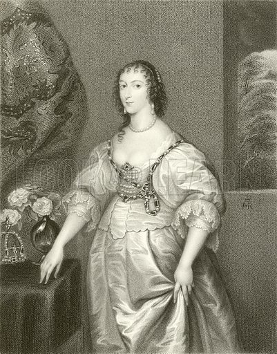 Henrietta Maria, Queen of Charles the First. Illustration from Portraits of Illustrious Personages by Edmund Lodge (Harding and Lepard, 1832).