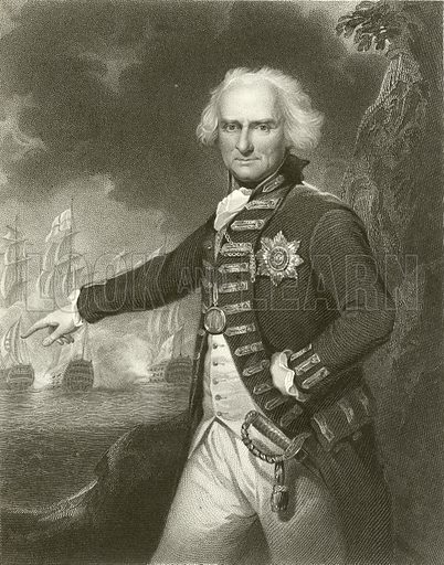 Alexander Hood, Viscount Bridport. Illustration from Portraits of Illustrious Personages by Edmund Lodge (Harding and Lepard, 1832).