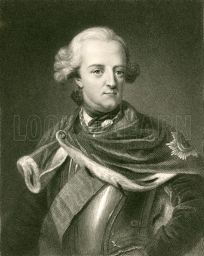 Frederick II. Illustration from The Gallery of Portraits (Charles Knight, 1836).