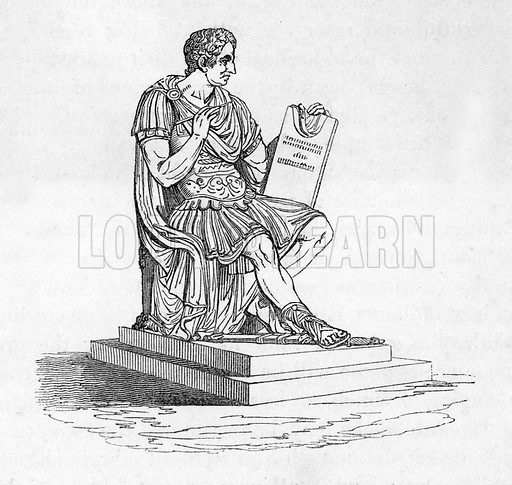 Statue by Canova in the Capitol at Washington. Illustration from The Gallery of Portraits (Charles Knight, 1836).