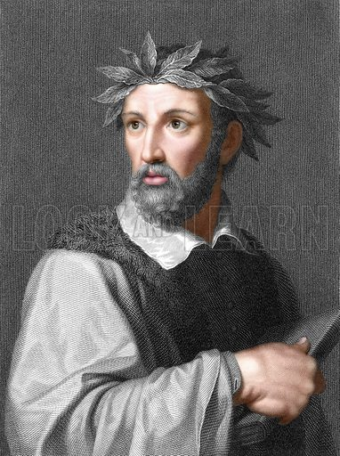 Torquato Tasso. Illustration from The Gallery of Portraits (Charles Knight, 1836). Engraving with digitally coloured face.