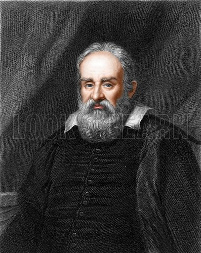 Galileo. Illustration from The Gallery of Portraits (Charles Knight, 1836). Engraving with digitally coloured face.