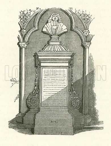 Monument of Barrow in Westminster Abbey. Illustration from The Gallery of Portraits (Charles Knight, 1836).