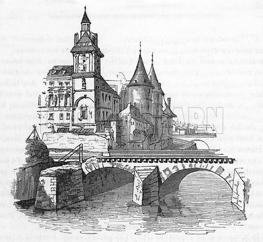 The Conciergerie at Paris, from whence the Hugonot prisoners were liberated by L'Hopital. Illustration from The Gallery of Portraits (Charles Knight, 1836).