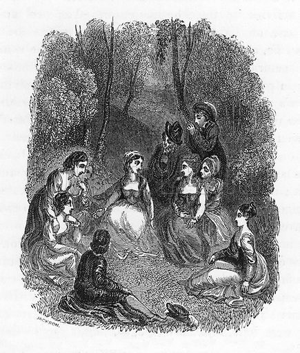 Scene from the Introduction to the Decameron. Illustration from The Gallery of Portraits (Charles Knight, 1836).