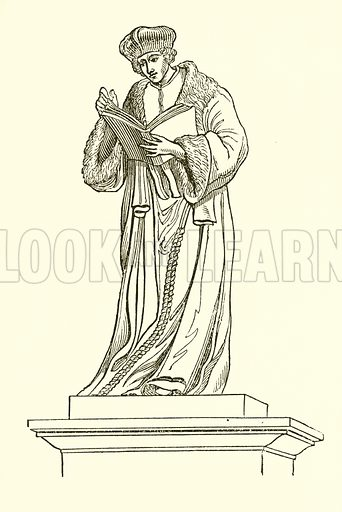 Bronze statue of Erasmus at Rotterdam. Illustration from The Gallery of Portraits (Charles Knight, 1836).