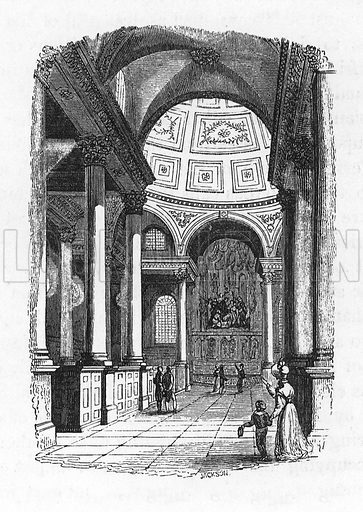 Interior of St Stephens, Walbrook. Illustration from The Gallery of Portraits (Charles Knight, 1836).