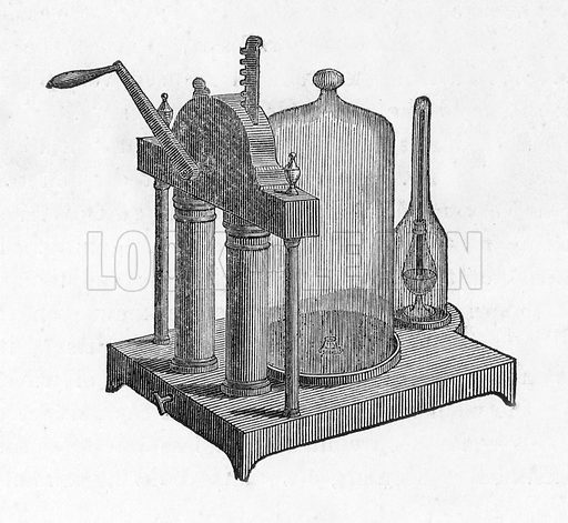 Air Pump. Illustration from The Gallery of Portraits (Charles Knight, 1836).