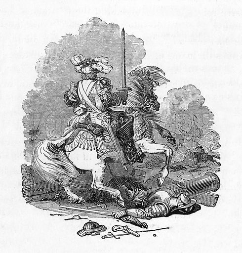 French Cavalier of the seventeenth century. Illustration from The Gallery of Portraits (Charles Knight, 1836).