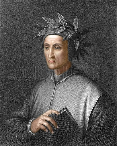 Dante Alighieri. Illustration from The Gallery of Portraits (Charles Knight, 1836). Engraving with digitally coloured face.