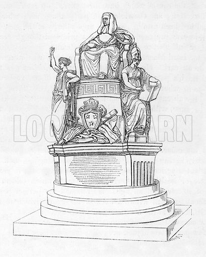 Monument of Lord Mansfield in Westminster Abbey. Illustration from The Gallery of Portraits (Charles Knight, 1836).