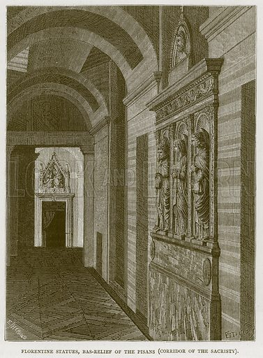 Florentine Statues, Bas-Relief of the Pisanas (Corridor of the Sacristy). Illustration for Rome by Francis Wey (Chapman and Hall, 1875).