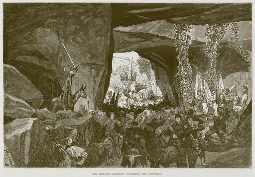 The German Festival: Entering the Grottoes. Illustration for Rome by Francis Wey (Chapman and Hall, 1875).