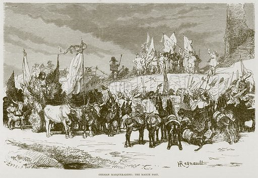 German Masquerading: The March Past. Illustration for Rome by Francis Wey (Chapman and Hall, 1875).