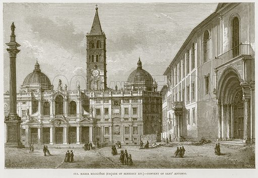 Sta. Maria Maggiore (Facade of Benedict XIV) – Convent of Sant' Antonio. Illustration for Rome by Francis Wey (Chapman and Hall, 1875).