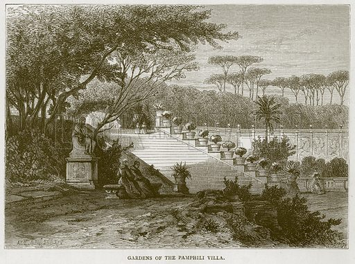 Gardens of the Pamphili Villa. Illustration for Rome by Francis Wey (Chapman and Hall, 1875).