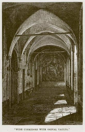 'Wide Corridors with Ogival Vaults.' Illustration for Rome by Francis Wey (Chapman and Hall, 1875).